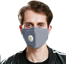 Load image into Gallery viewer, grey mask with breathing valve and filter pocket