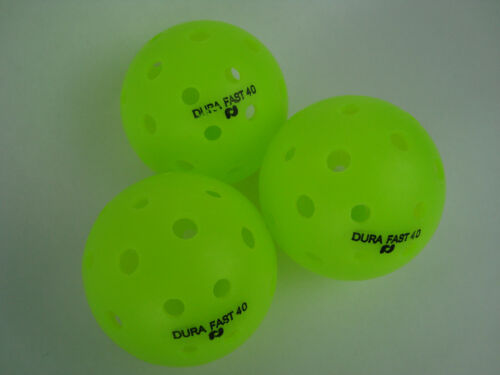 NEW 3 Dura Outdoor Pickleball Balls DuraFast 40 Neon Green Set of 3