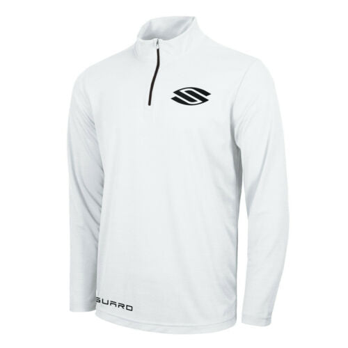 Selkirk Vanguard Men's 1/4 Zip Long Sleeve Stretch-Wik Crew T-Shirt M White