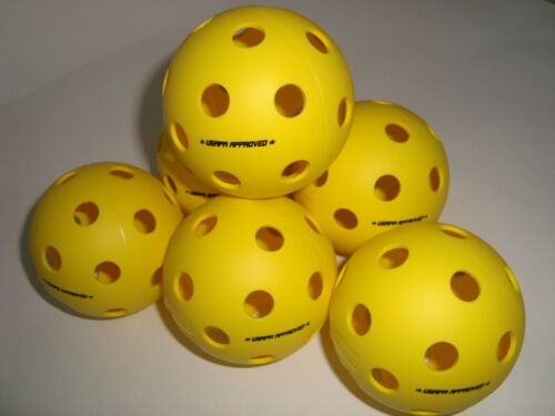 6 Onix Fuse Pickleball Balls Indoor True Flight USAPA Approved Yellow Set of 6