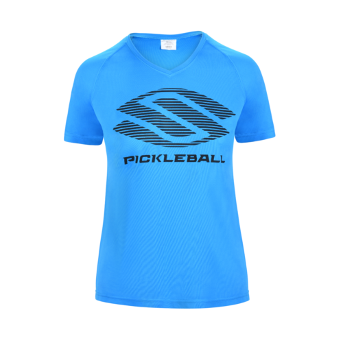 Selkirk Women's Polyester Core V-neck Pickleball T-Shirt Blue Aqua Medium