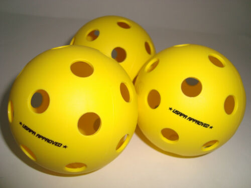 3 Onix Fuse Pickleball Balls Indoor True Flight USAPA Approved Yellow Set of 3