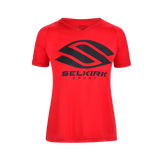 Selkirk Women's Polyester Core V-neck Pickleball T-Shirt Red Medium