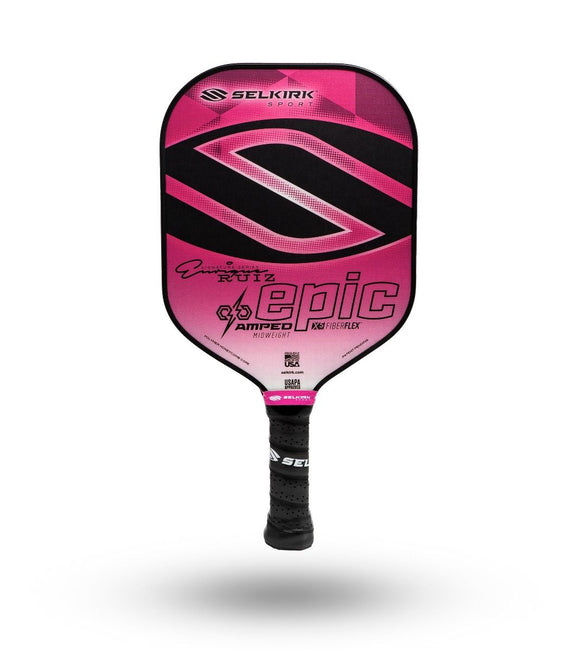 2020 Enrique Ruiz Selkirk Amped X5 Epic Pickleball Paddle Midweight Signature Pink