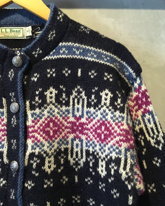 L.L.Bean-Nordic Knit cardigan-(size S)Made in U.S.A.