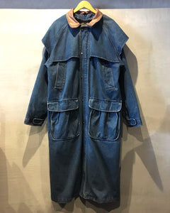 80's Woolrich-Denim maxi coat-(size L)Made in U.S.A.