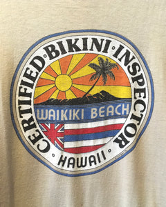 70's CERTIFIED BIKINI INSPECTOR-T-shirt-(size L)Made in U.S.A.