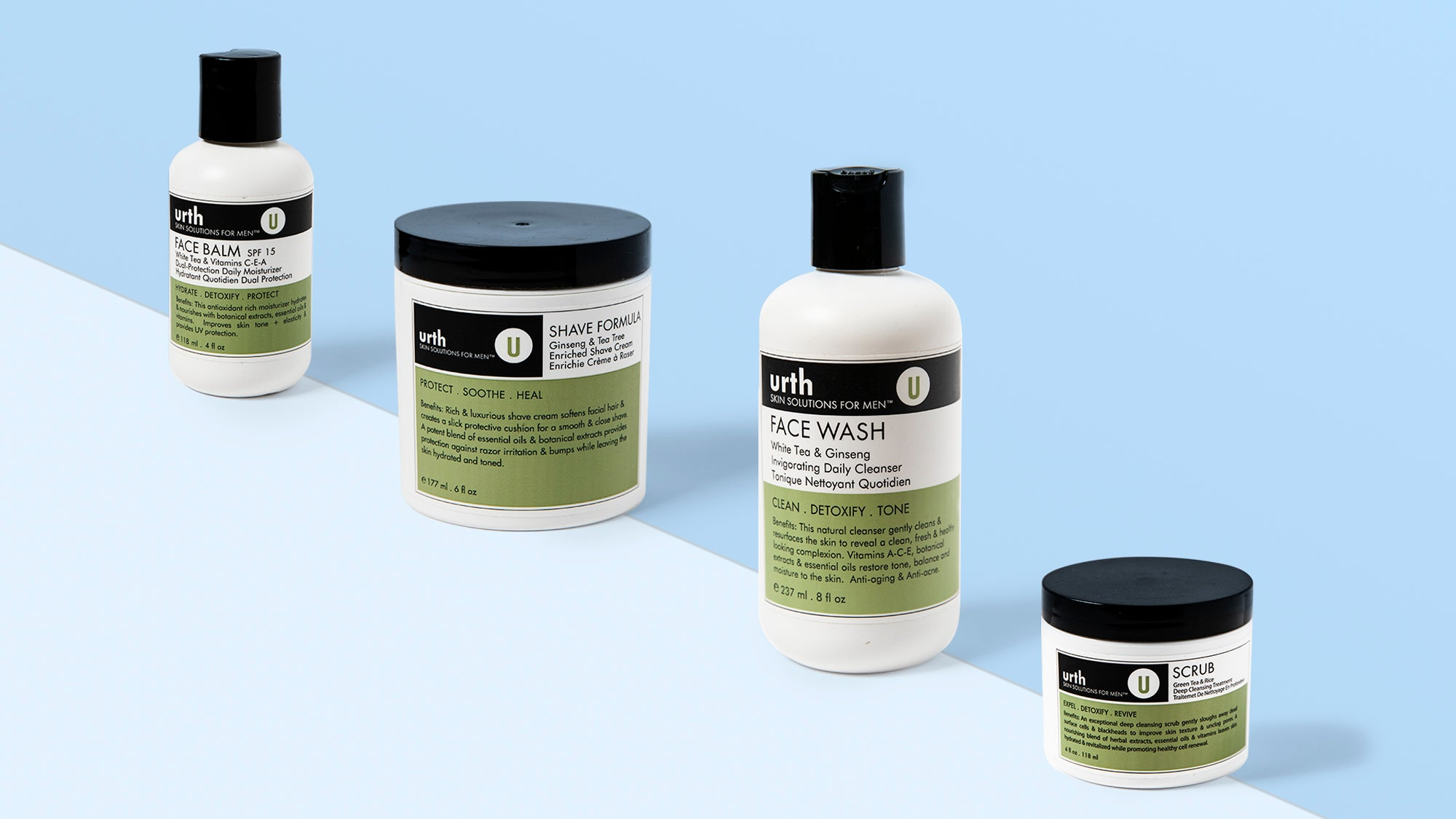 Face balm SPF 15, Face Wash, Botanical Mask, Post Shave Elixir and Shave formula.