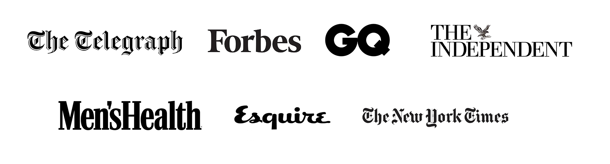 The telegraph, Forbes, GQ, the independent and men's health logo