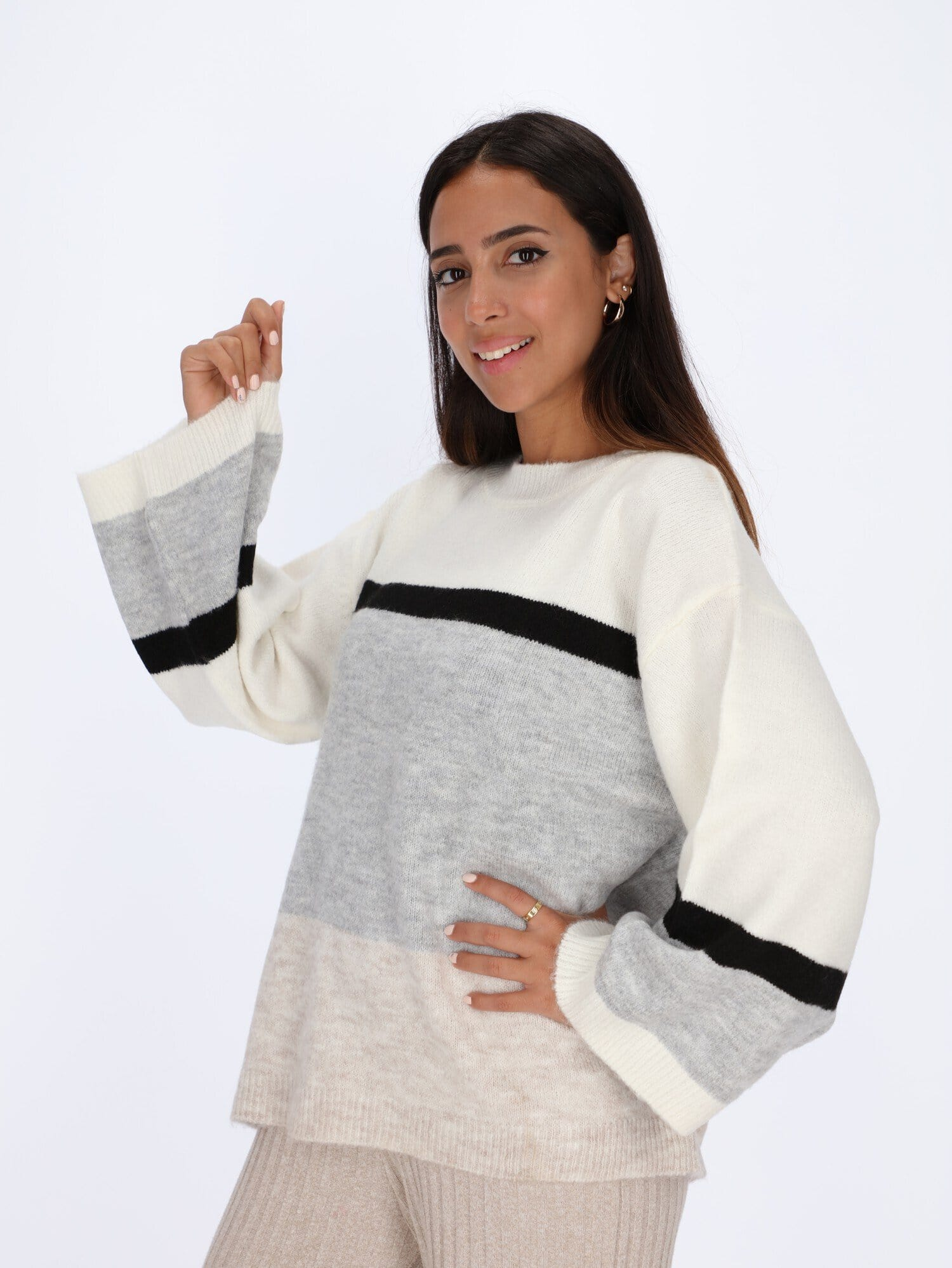 OR Knitwear Grey Chine / One Size Dropped Shoulder Color-Block Pullover