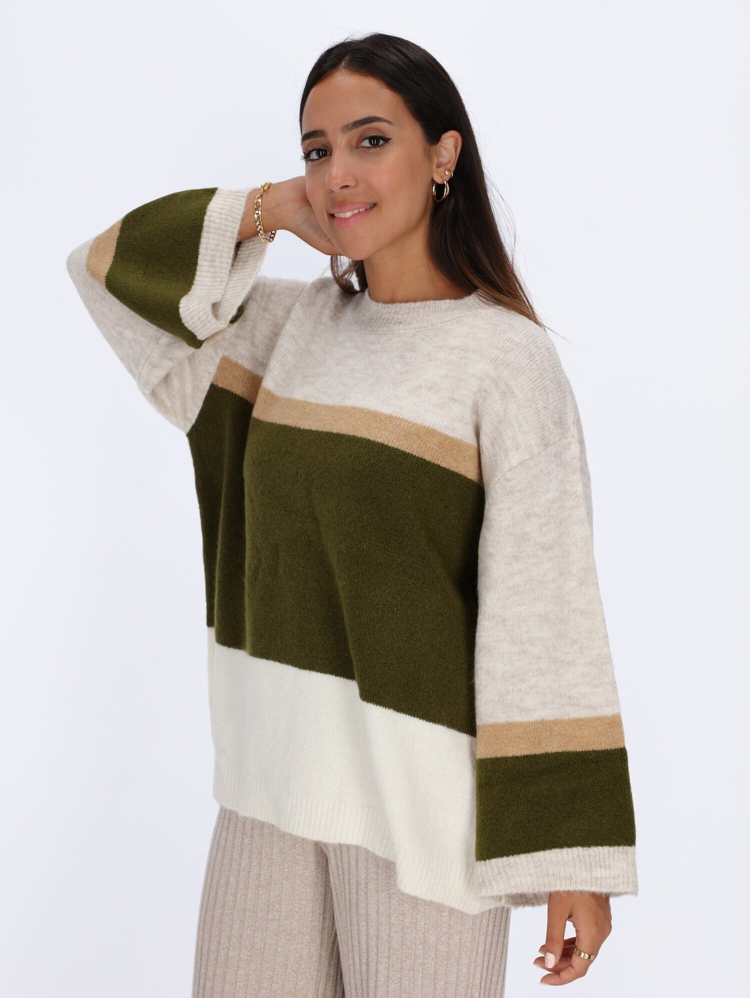 OR Knitwear Max / One Size Dropped Shoulder Color-Block Pullover