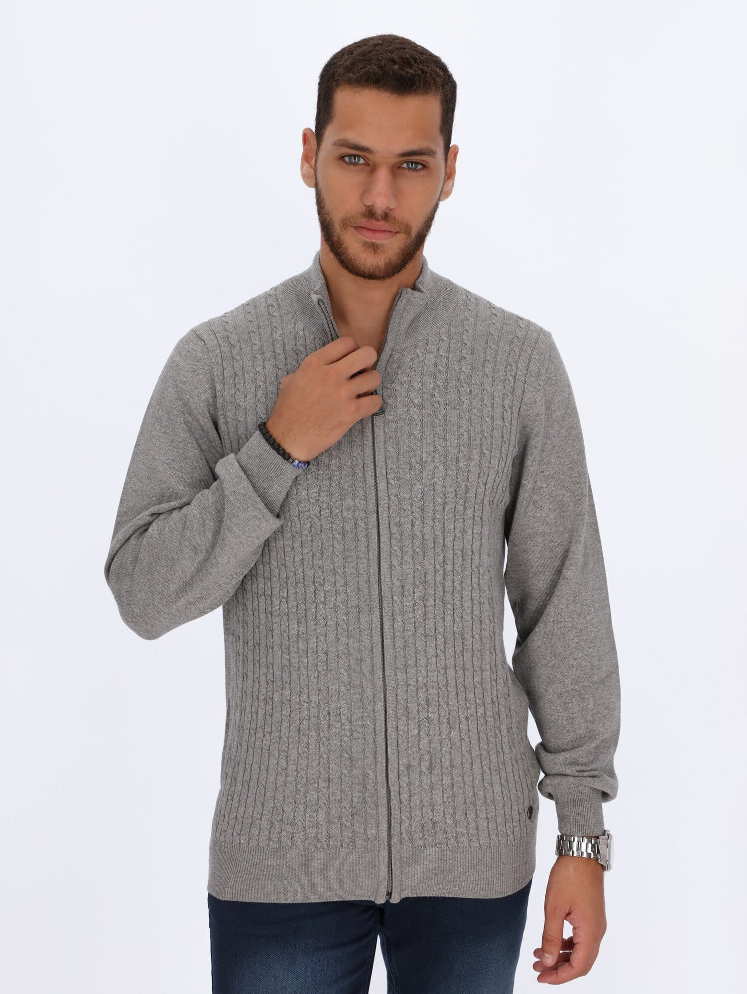 Daniel Hechter Knitwear LIGHT GRAY CHINE / L Braided Cables Cardigan with Zipper