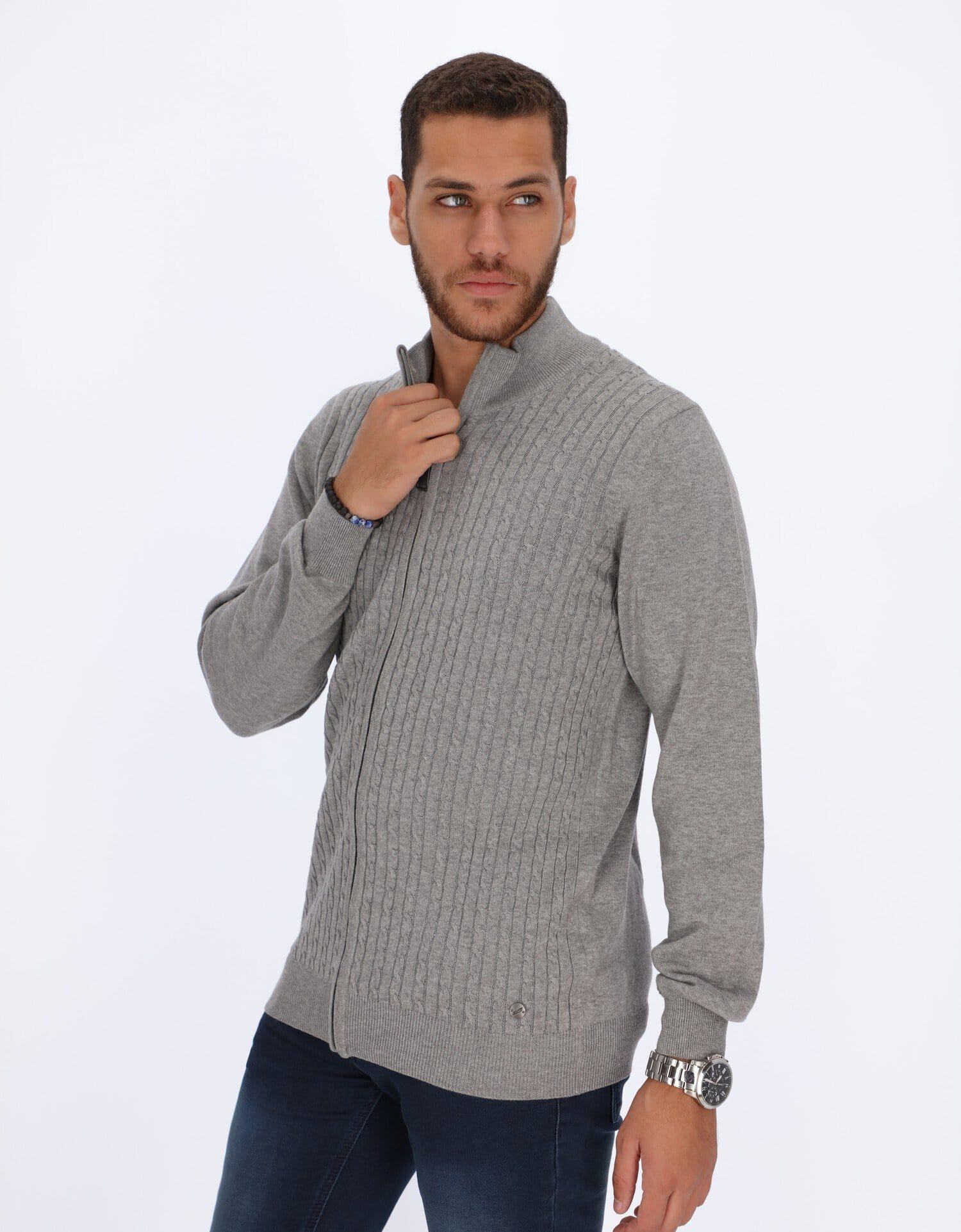 Daniel Hechter Knitwear Braided Cables Cardigan with Zipper
