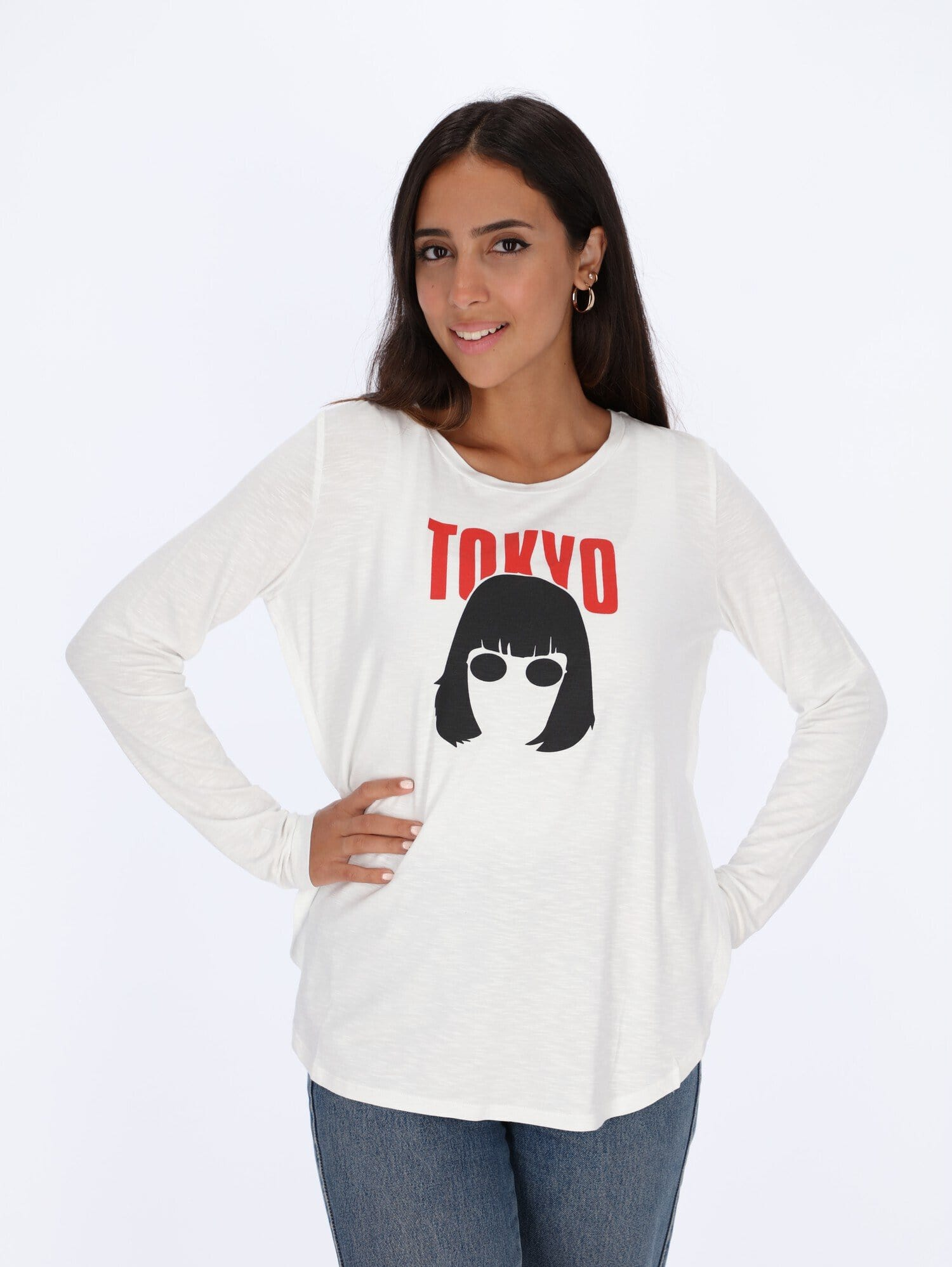 OR Tops & Blouses White / L Tokyo Front Print Long Sleeve Top