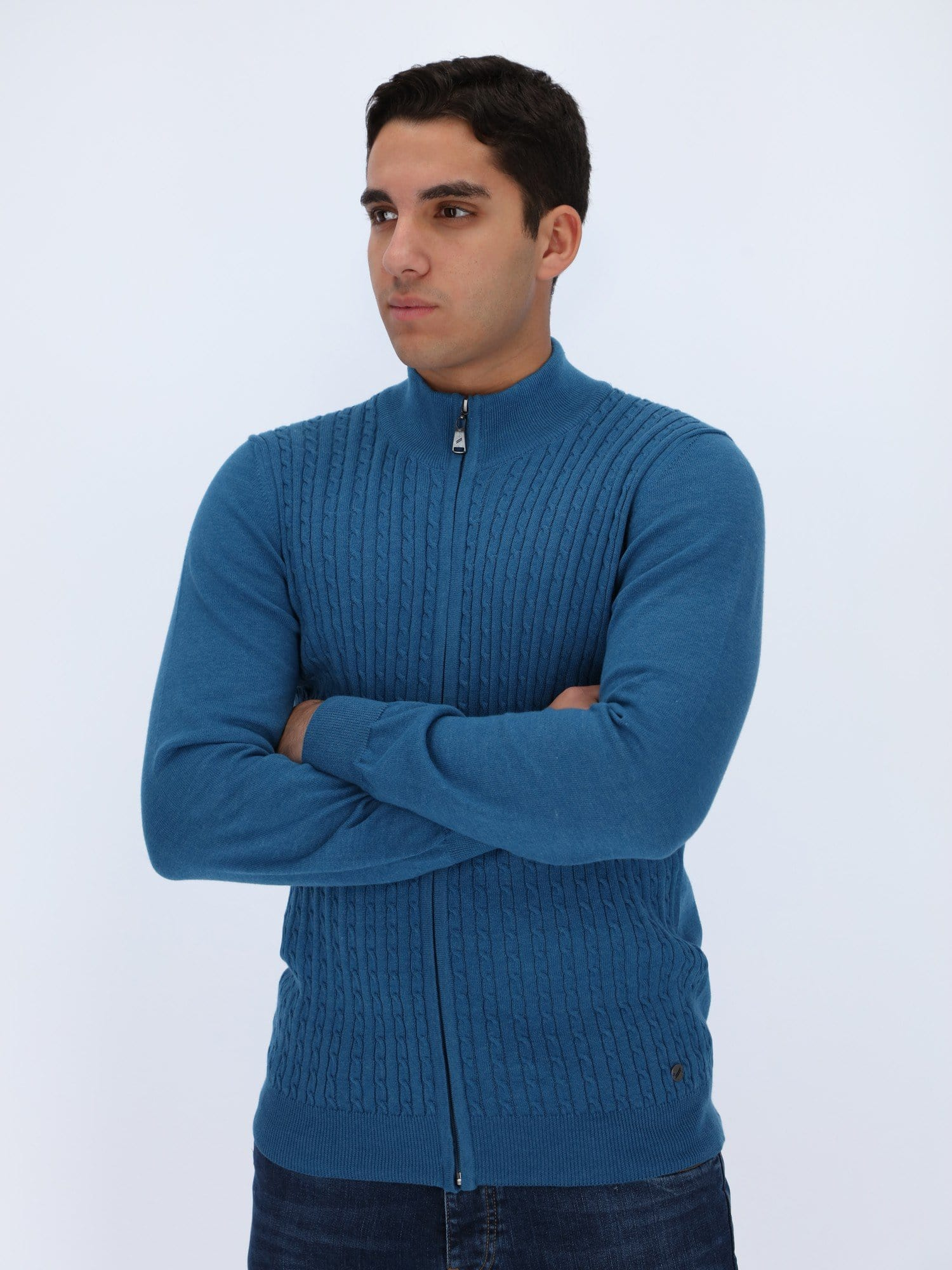 Daniel Hechter Knitwear BLUE MARINE / M Braided Cables Cardigan with Zipper