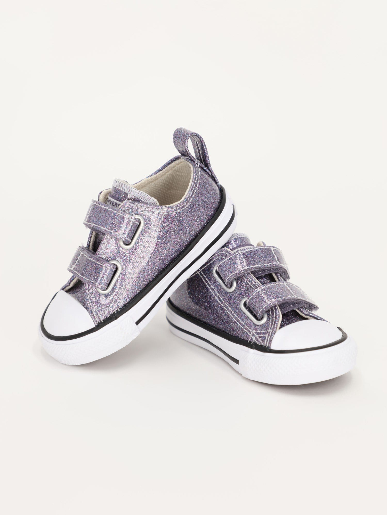 Converse Footwear Grape / 26 Kids Coated Glitter Easy-On Chuck Taylor All Star Low Top Sneakers - 768469C