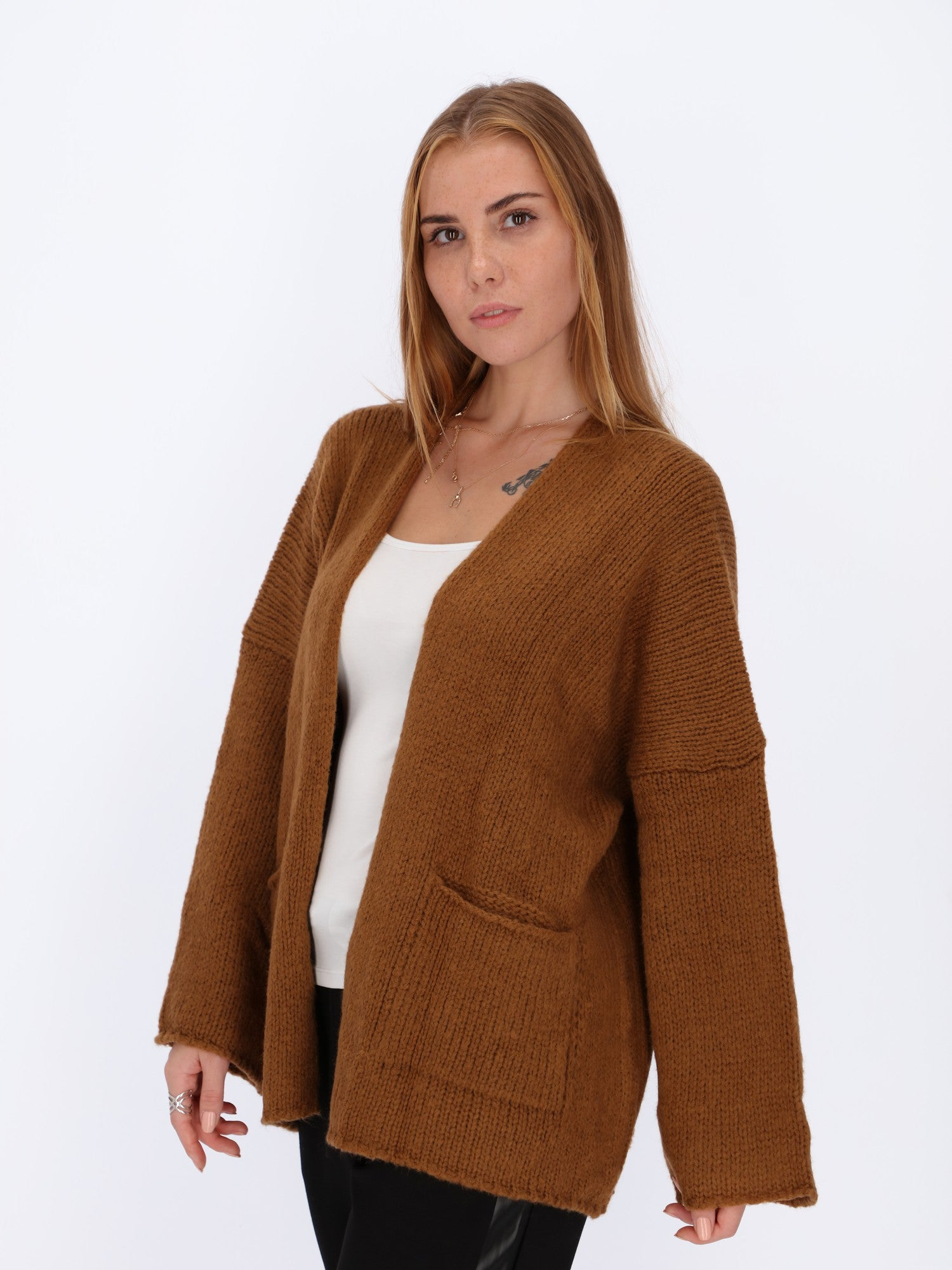 2 Front Pockets Open Cardigan