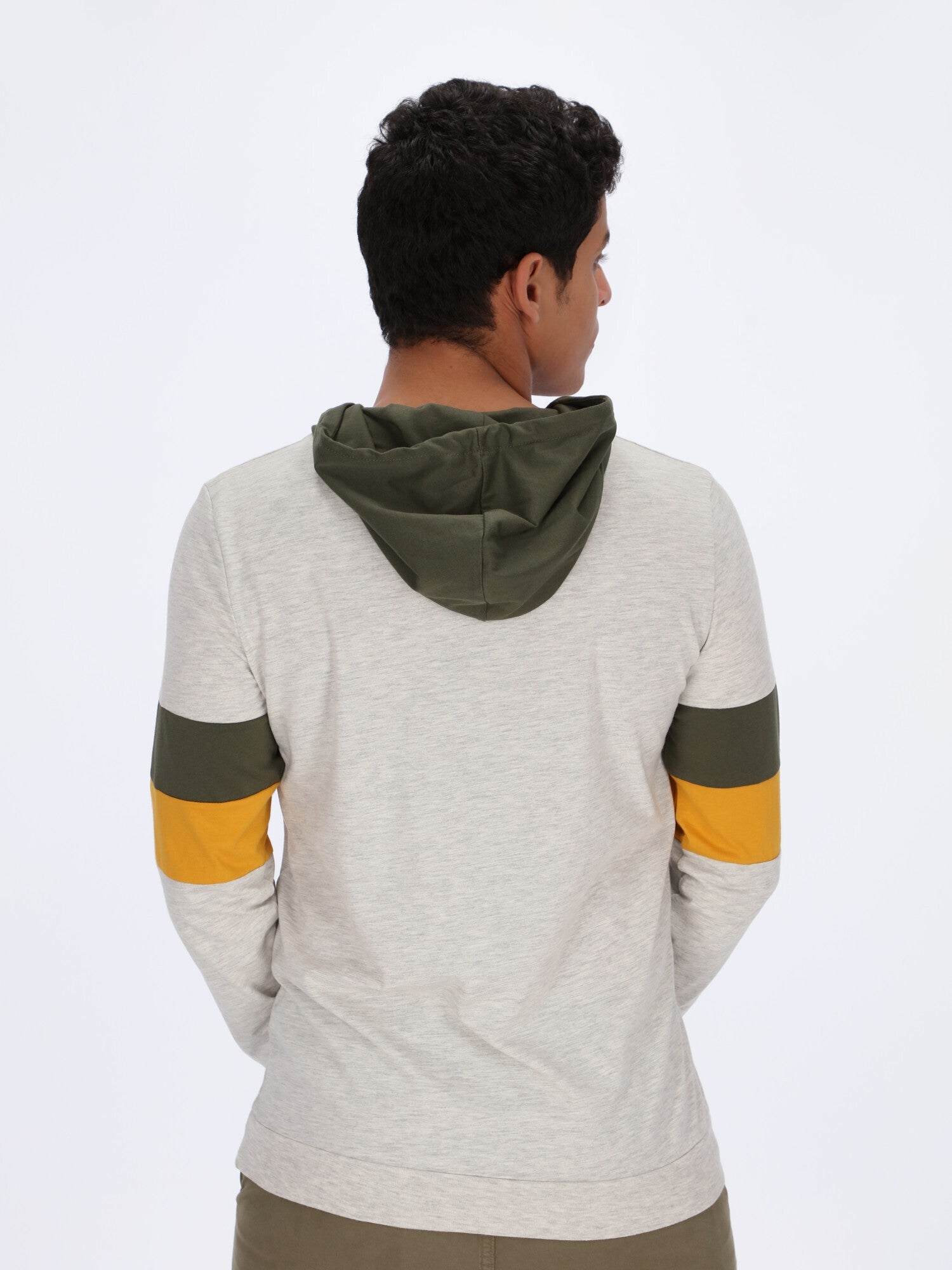 Plain Hoodie with Color-Block Sleeves