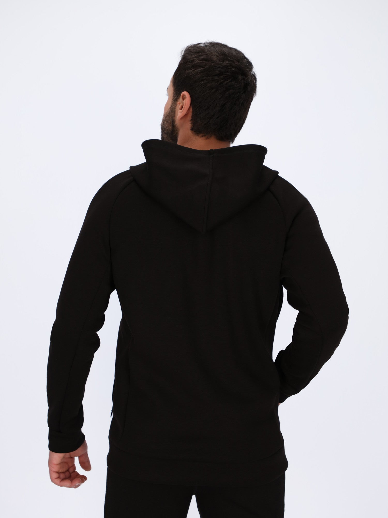 Chest Logo Print Hoodie with Stitched Panels