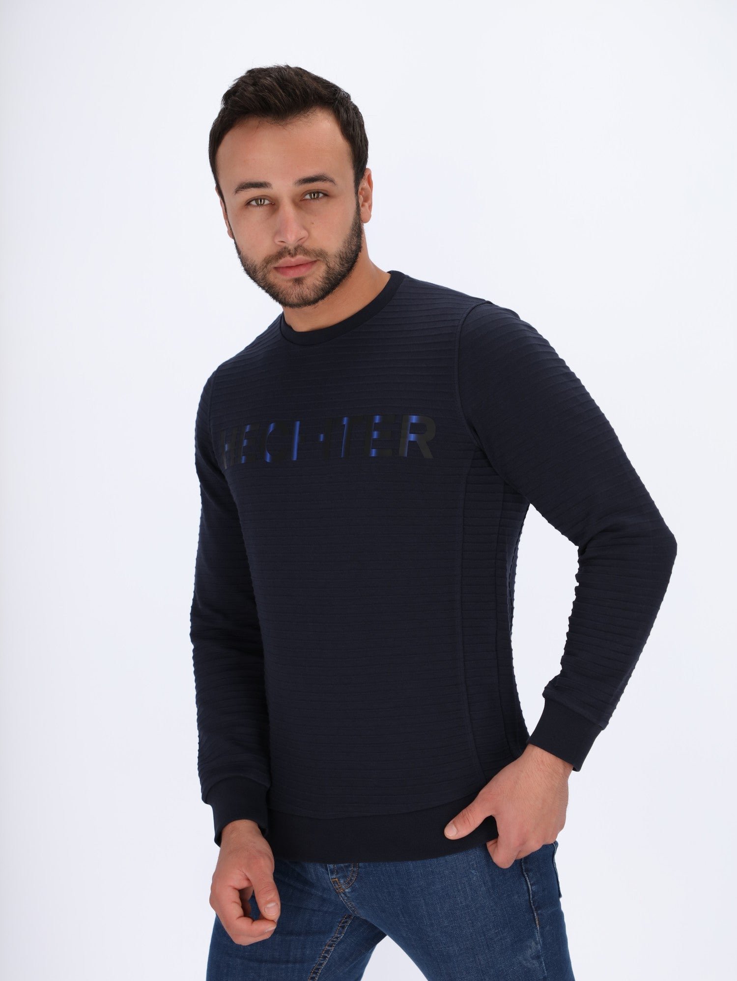 Ribbed Sweatshirt with Front Logo