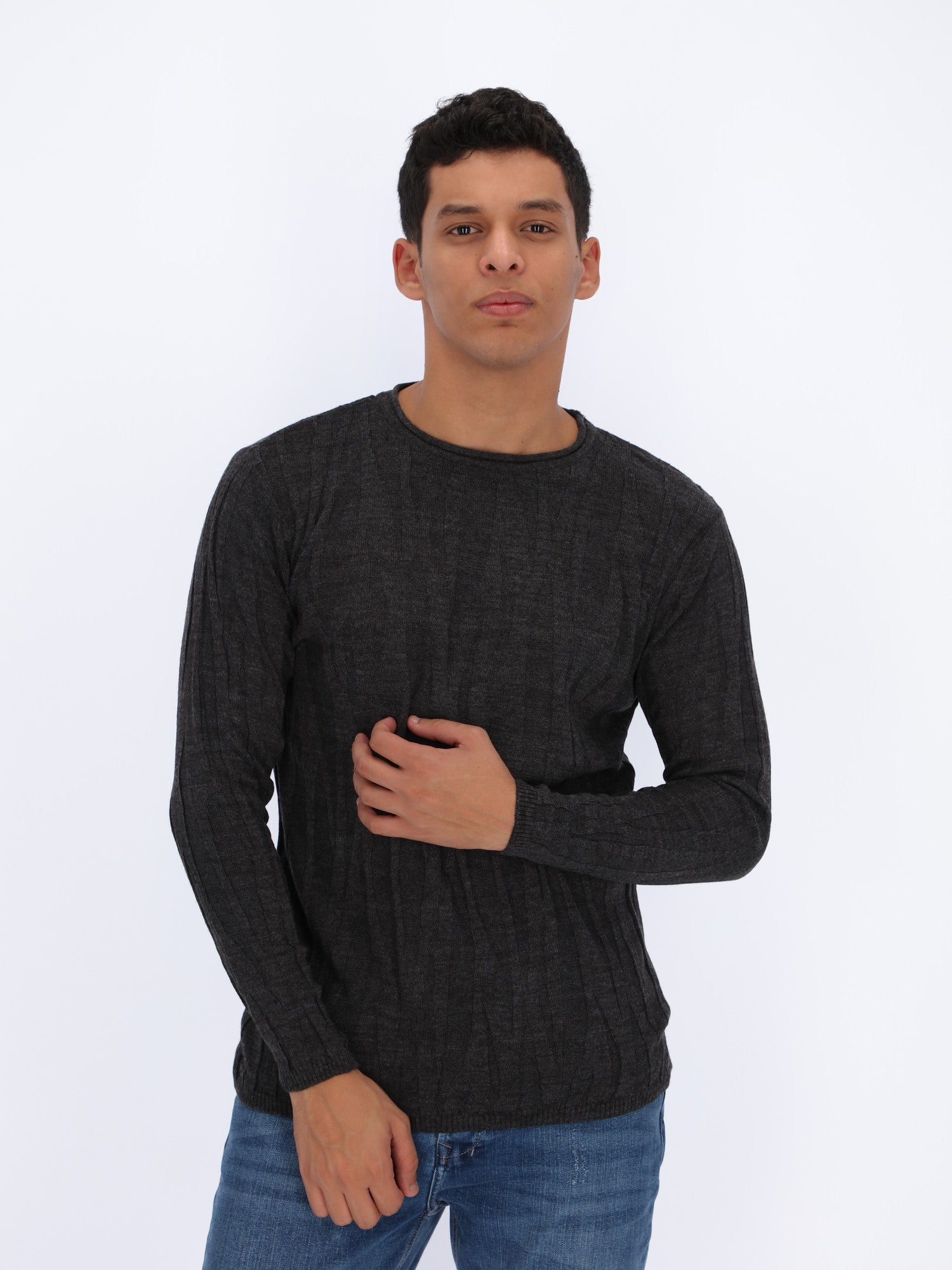Self Srtiped Knit Pullover