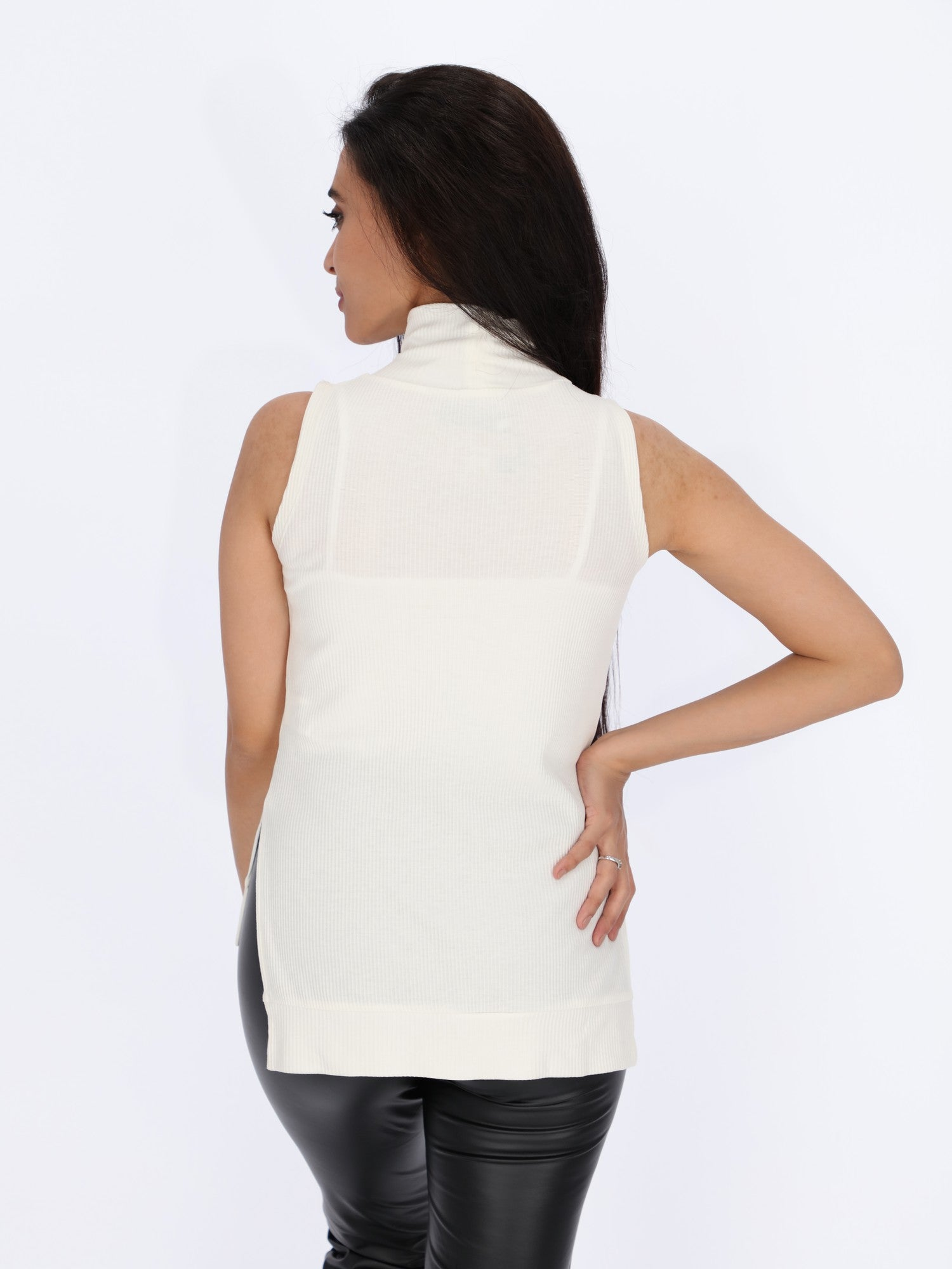 Ribbed Sleeveless High Neck Top