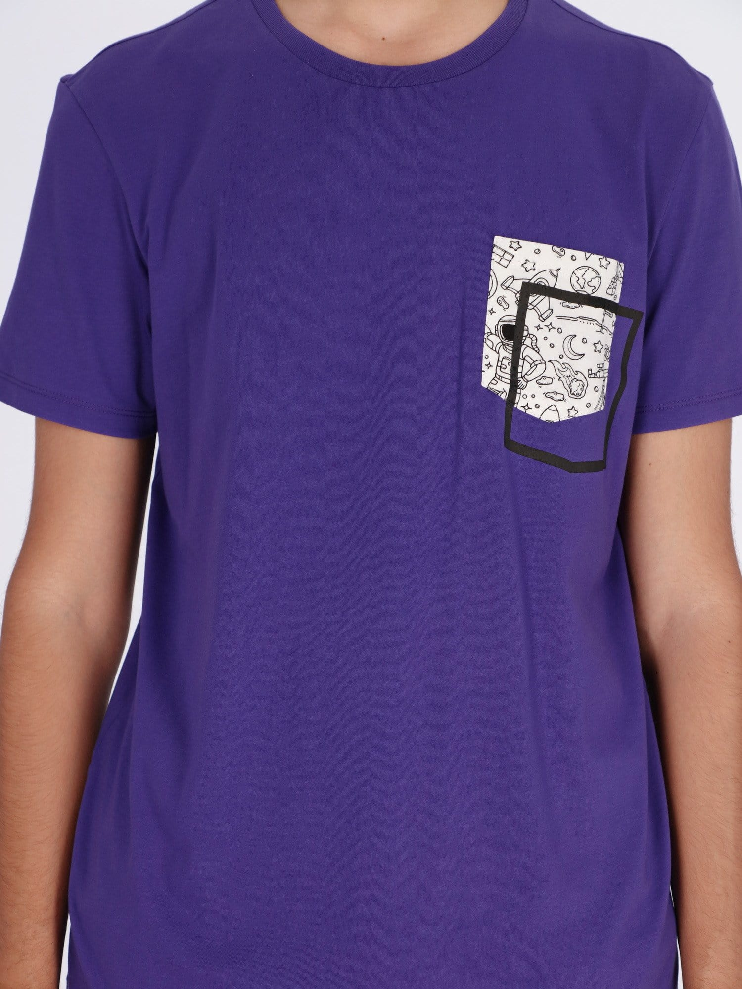 OR T-Shirts Dark Purple - V24 / S Short Sleeves T-shirt with Illusion Printed Pocket