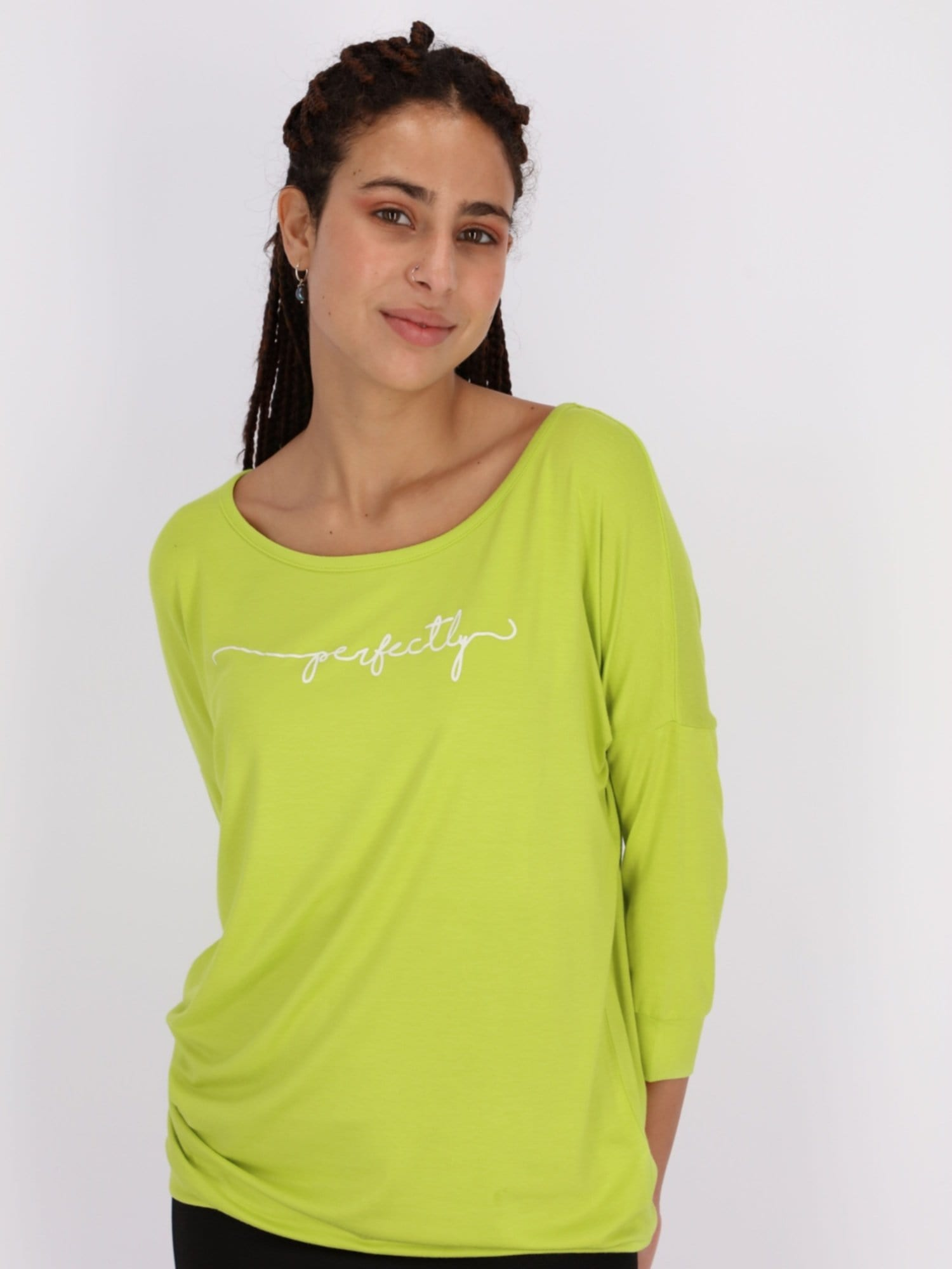 OR Tops & Blouses Apple Green / S Front Text Print 3/4 Cuff Sleeve Top