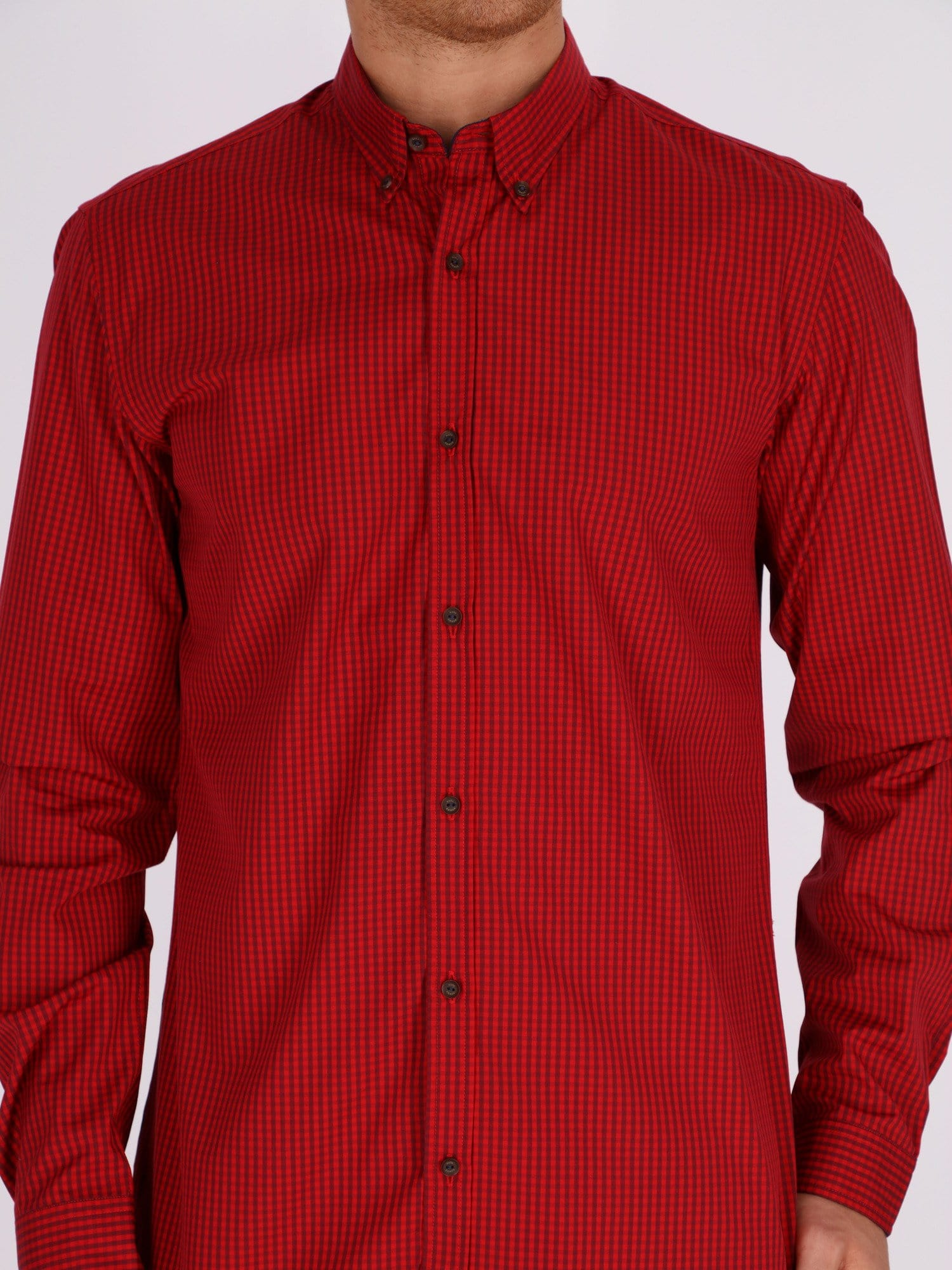 Naga Homme Shirts Casual Pin Check Long Sleeve Shirt