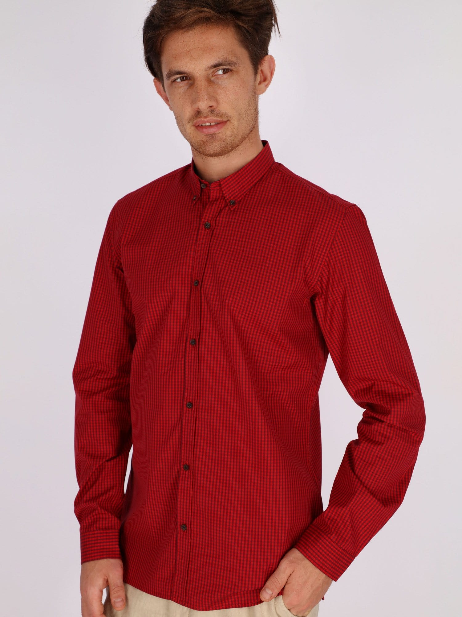 Naga Homme Shirts Red / 42/L Casual Pin Check Long Sleeve Shirt