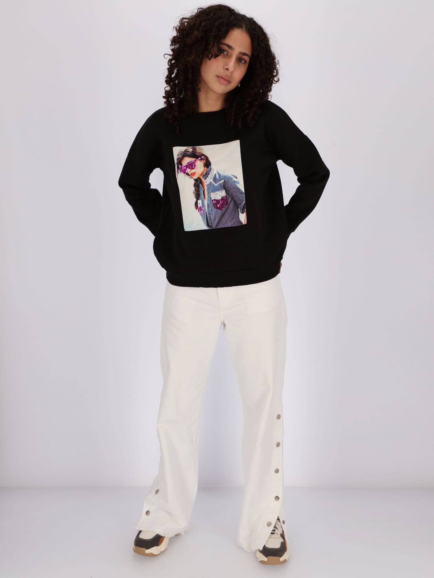 OR Sweatshirts & Hoodies Lady with Glasses Printed Sweatshirt