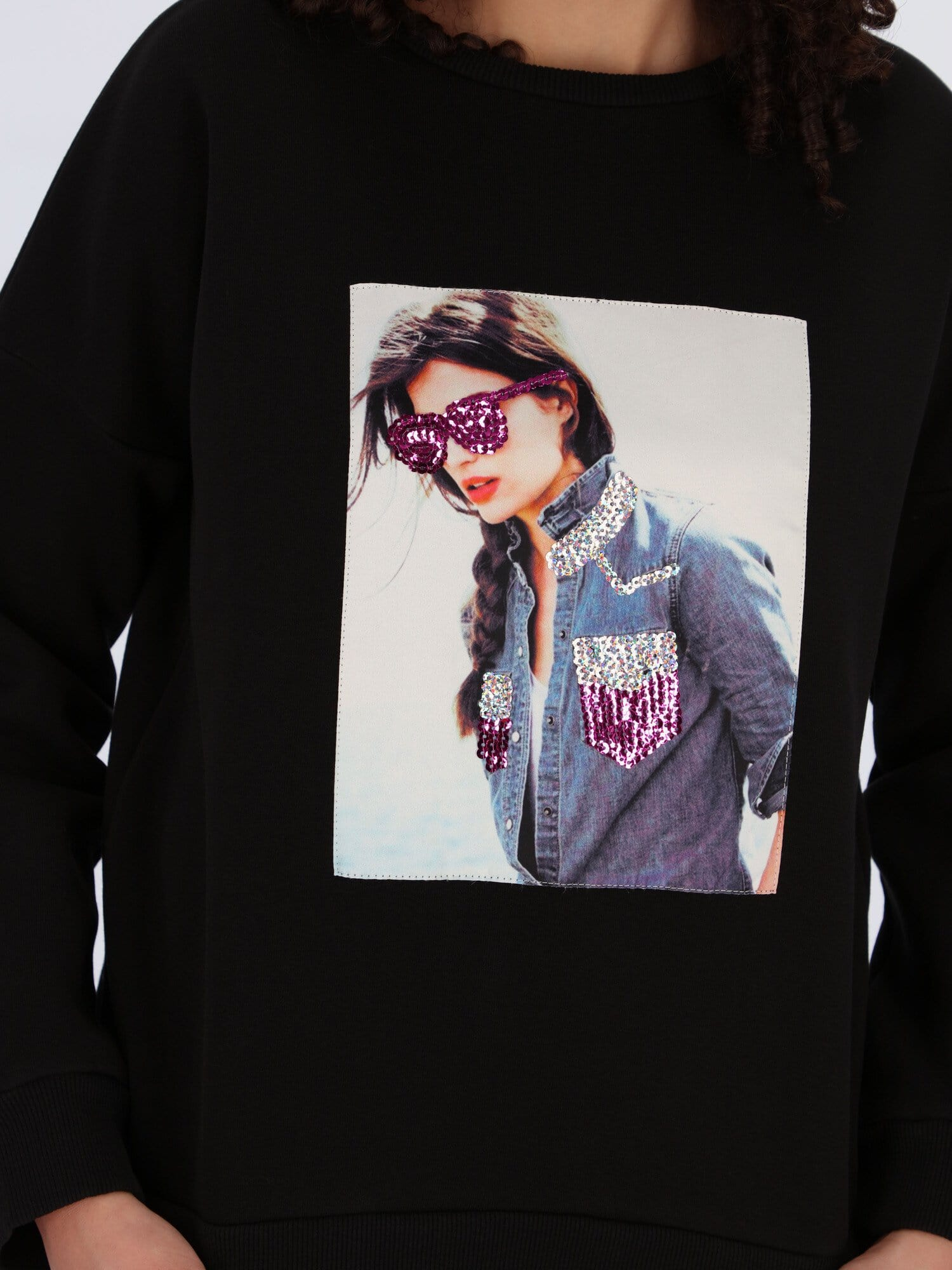 OR Sweatshirts & Hoodies Black / S Lady with Glasses Printed Sweatshirt