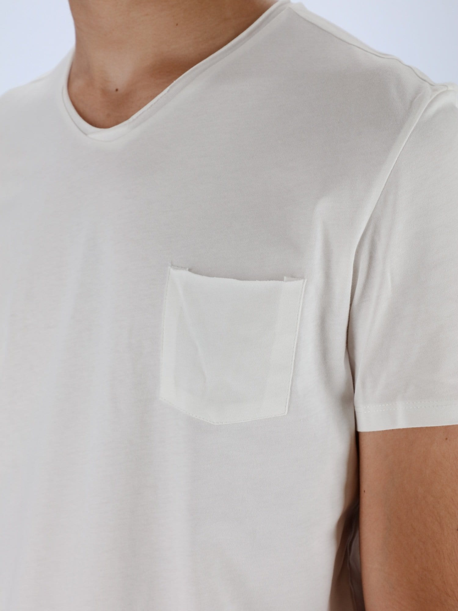OR T-Shirts Off White / S Chest Pocket V-Neck Solid T-Shirt