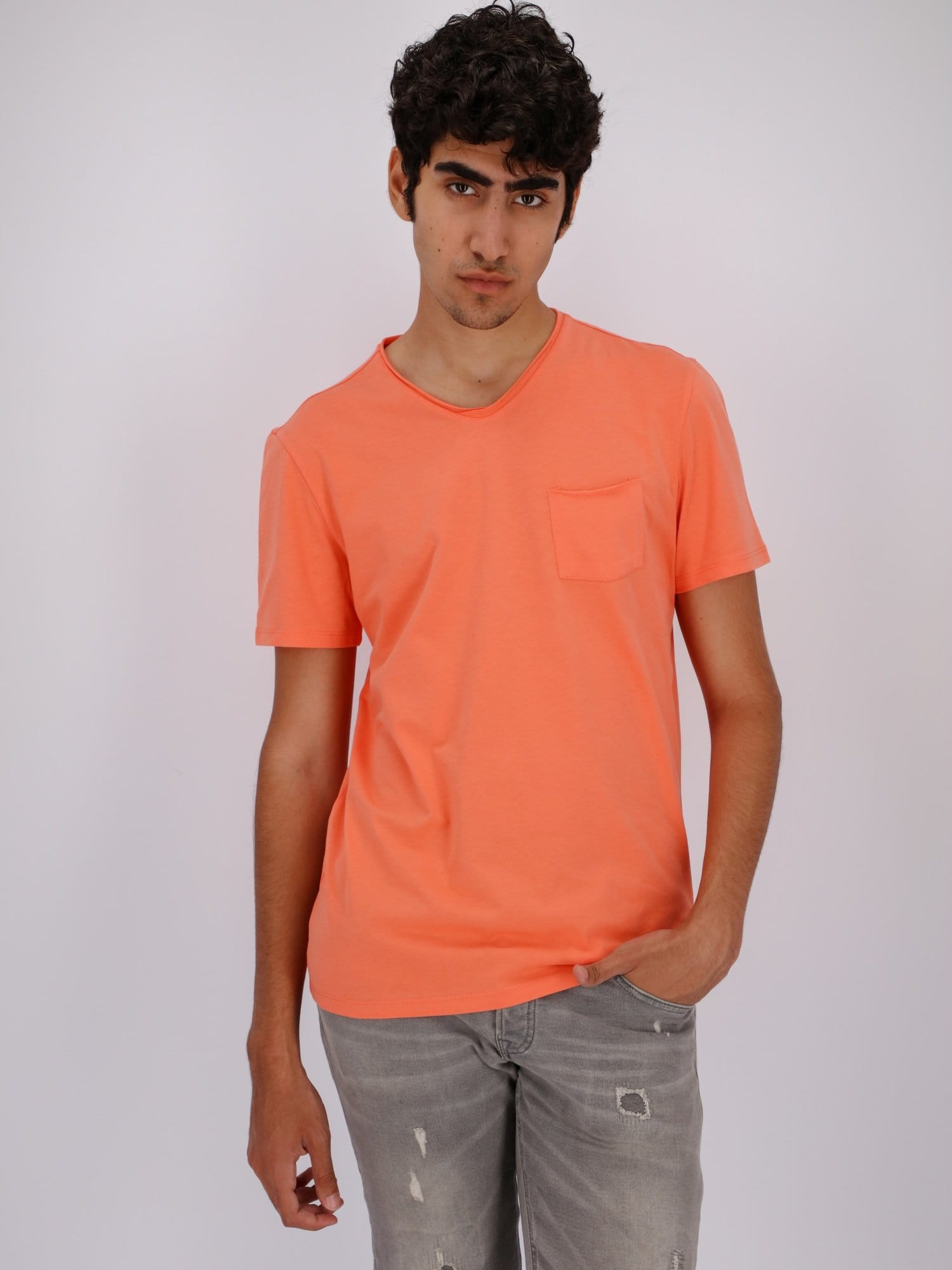 OR T-Shirts Apricot / S Chest Pocket V-Neck Solid T-Shirt