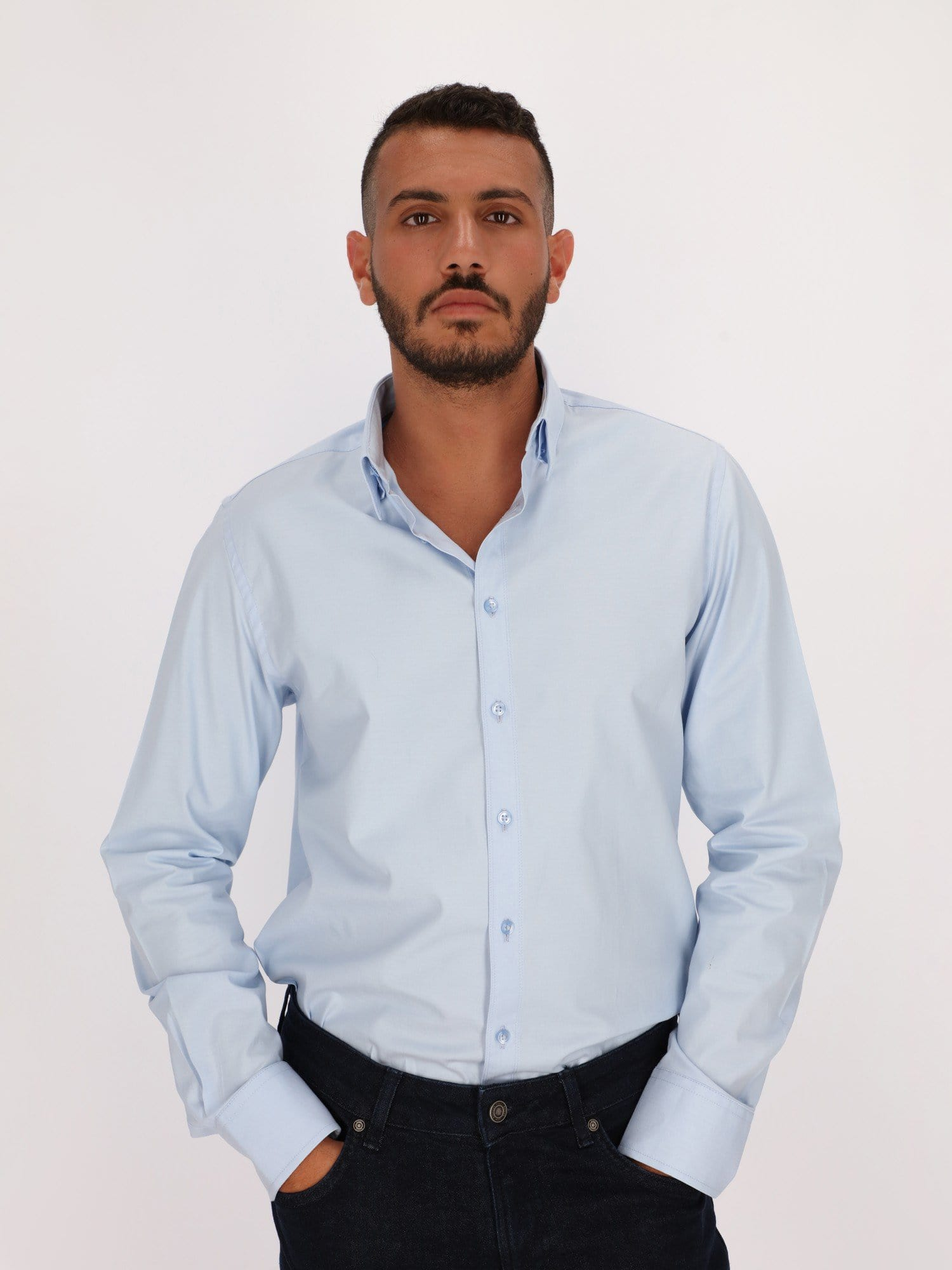 Daniel Hechter Shirts Ice Blue / 38 Basic Shirt with Long Sleeves