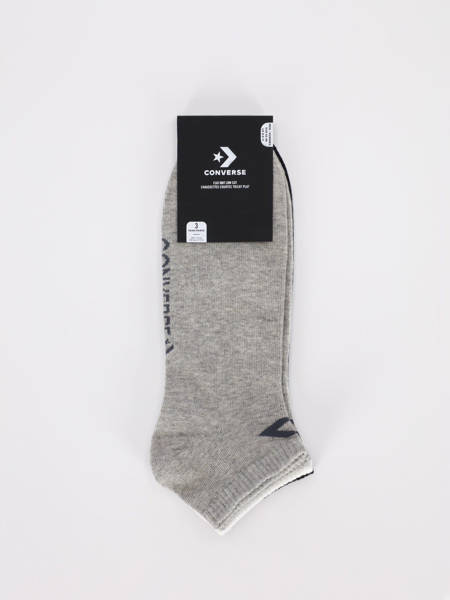 Converse Other Accessories 71 / 43-46 3 Pairs of Flat Knit Low Cut Socks with Star Chevron Logo - Light Grey/White/Black