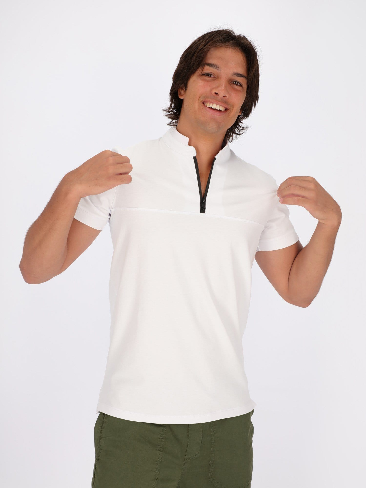OR Polos White / L Zip Grandad Collar Polo Shirt