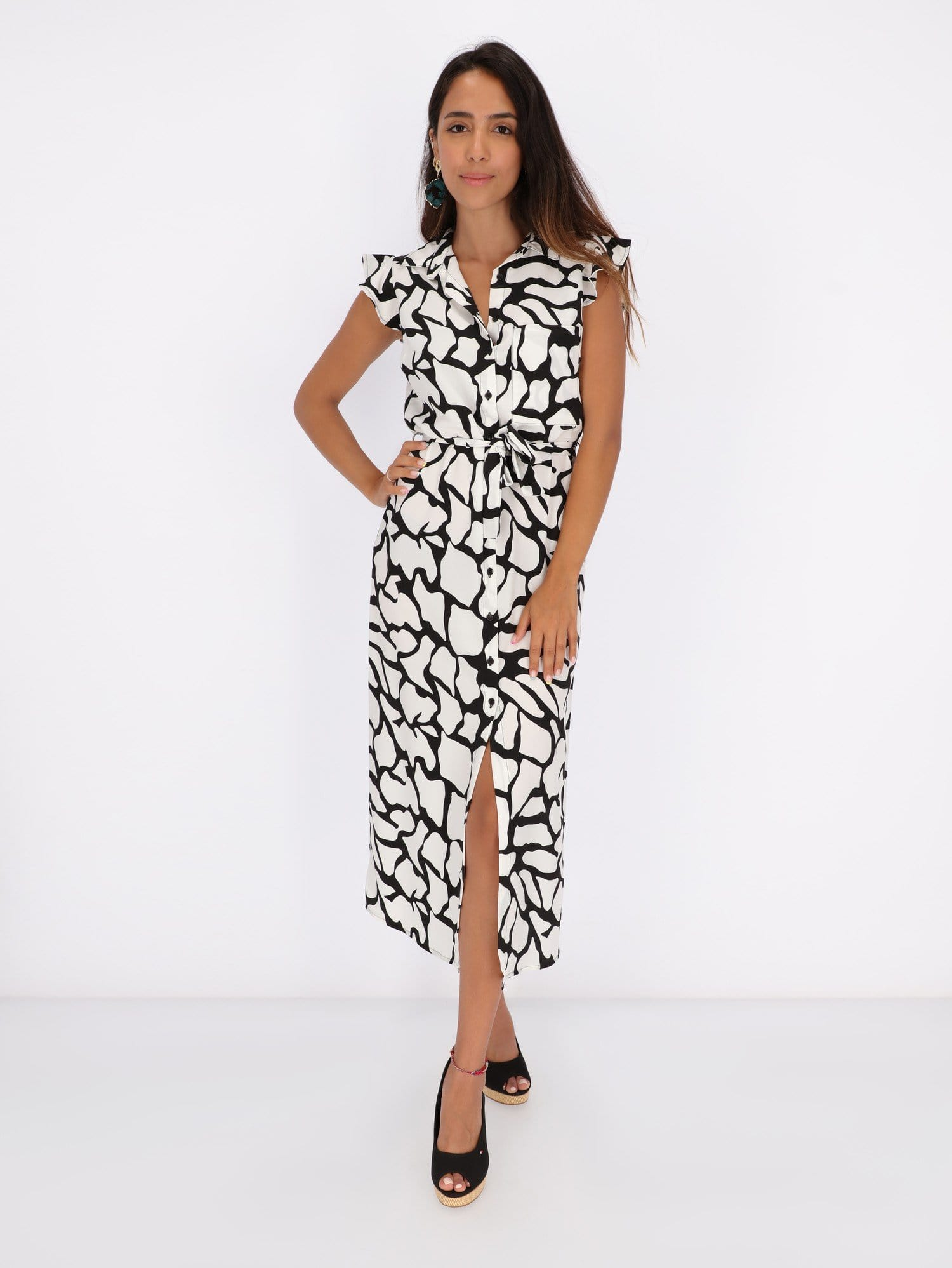 OR Dresses & Jumpsuits White / L Monochrome Midi Dress with Monarch Butterfly Art
