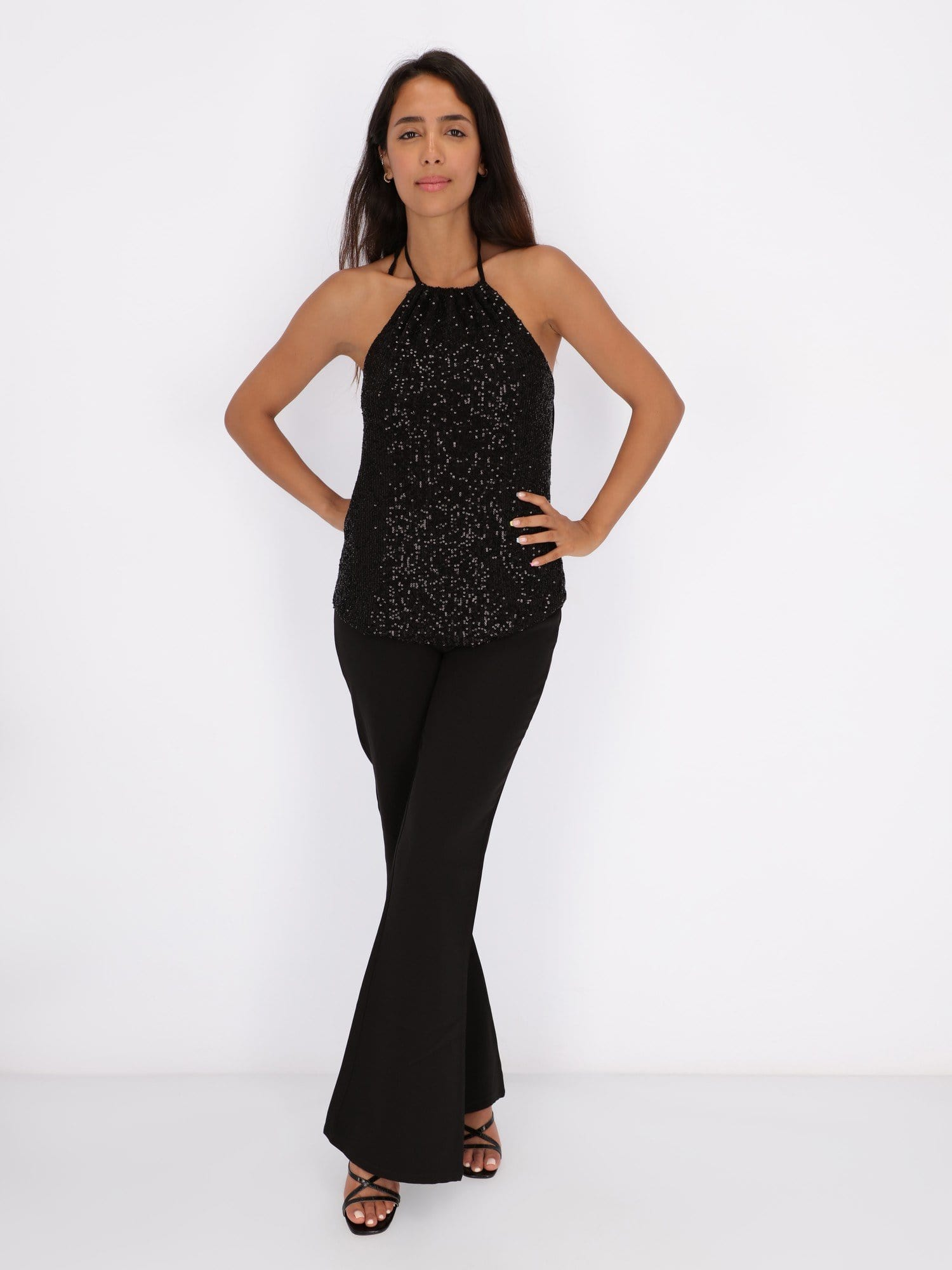 OR Tops & Blouses Top with Halter Neck and Open Back Drape