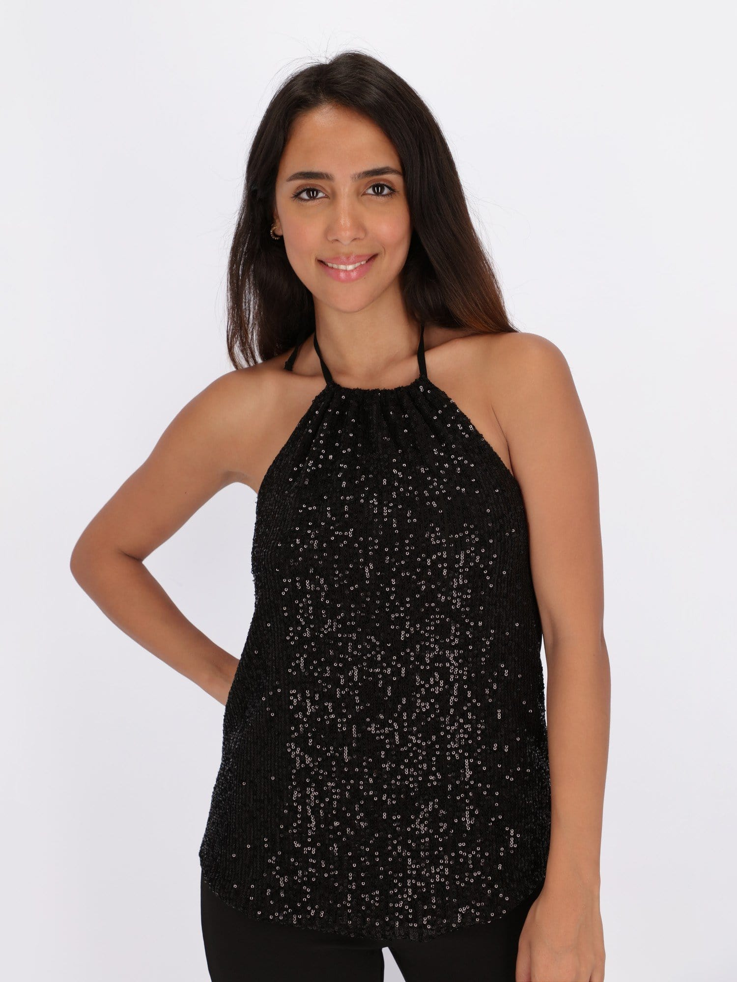 OR Tops & Blouses Black / L Top with Halter Neck and Open Back Drape
