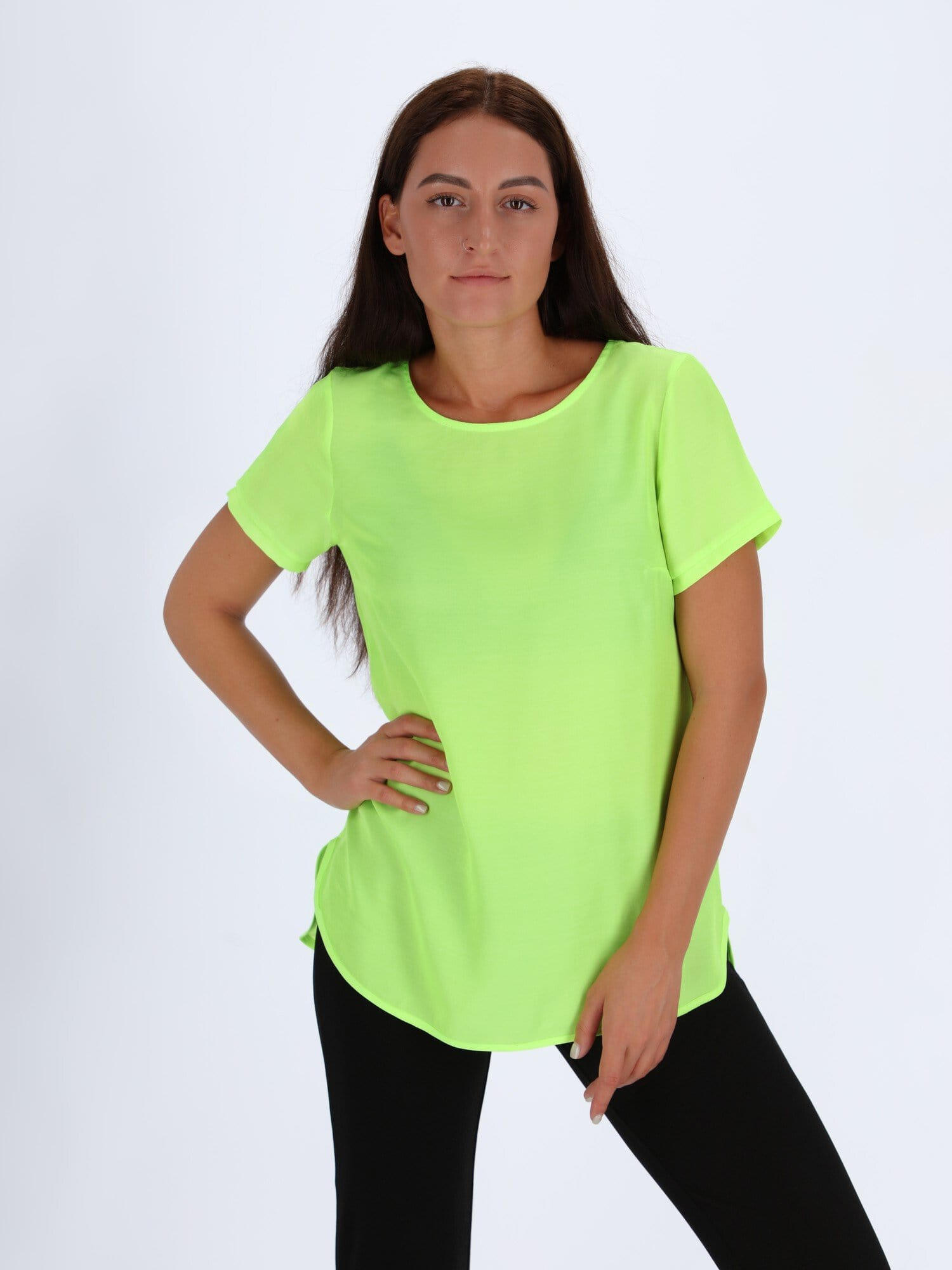 OR Tops & Blouses M / Acid Lime Basic Round Hem Top