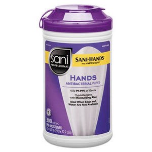 Sani-Hands Sanitizing Wipes, 300 Wipes/Canister, 6 Canisters
