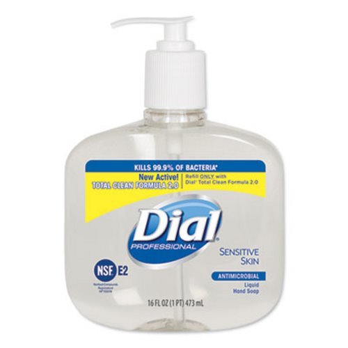 Dial Antimicrobial Soap for Sensitive Skin, 16 oz, 12 Pump Bottles