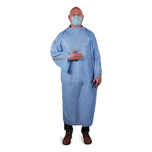 Heritage T-Style Isolation Gown, LLDPE, Large, Light Blue, 50/Carton