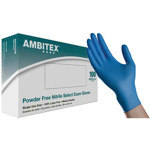 AMBITEX Nitrile Powder Free Examination Gloves - 100 Gloves/Box