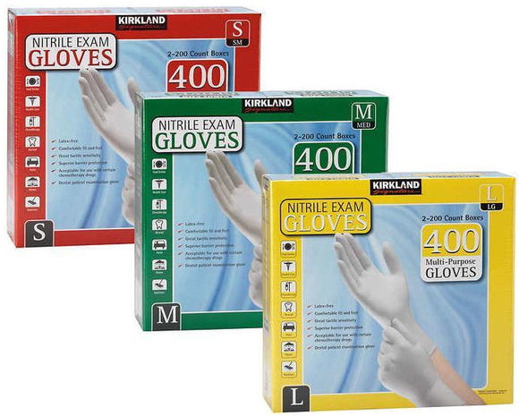 Kirkland Powder Free Nitrile Exam Gloves - 400 Gloves/2 Pack