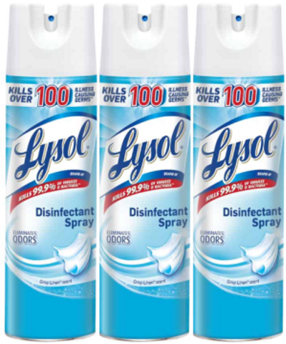 Lysol 19oz Crisp Linen Disinfectant Spray (3 Cans)