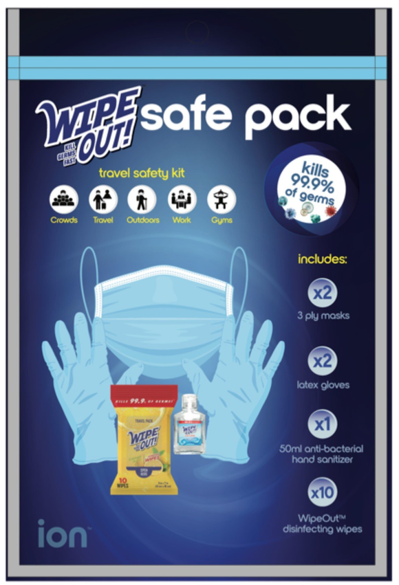 WipeOut Safe Pack Travel Safety Kit