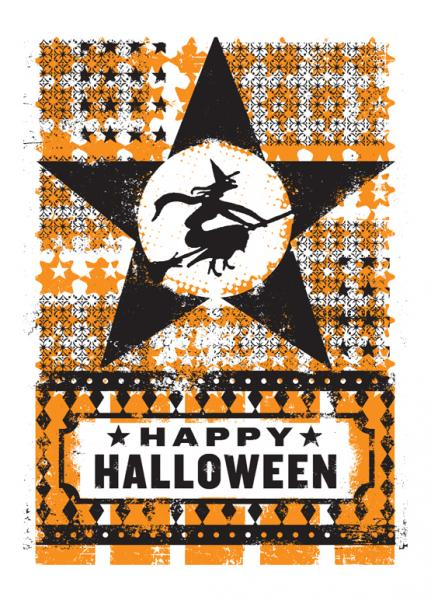 Witch in Star Halloween Card