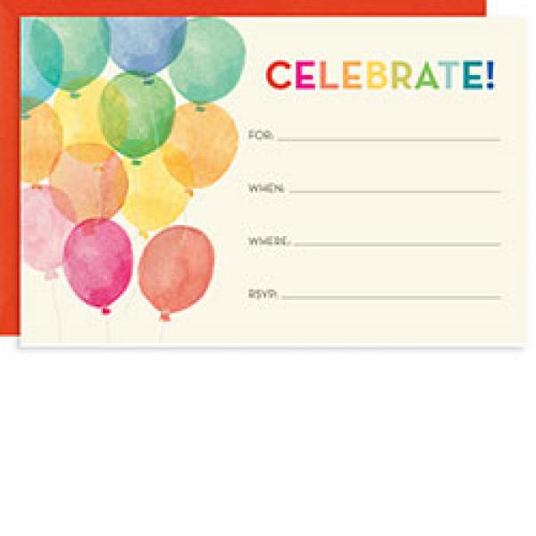 Watercolor Balloons Invitation Fill-In